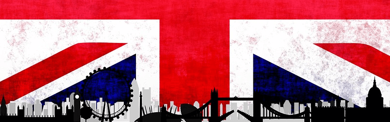 Union Jack with Silhouette of London